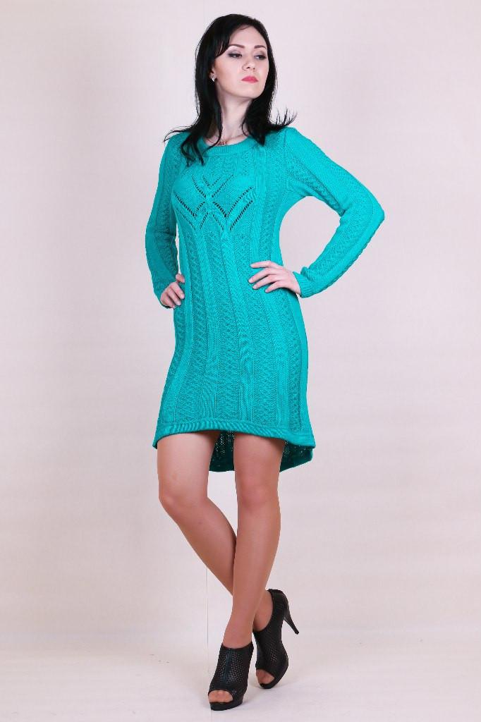 Вязаное платье туника с шлейфом