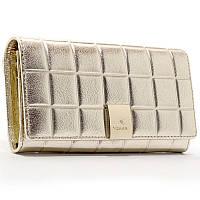 Кожаный золотистый женский кошелек 514 деловой на кнопке из натуральной кожи, фото 1