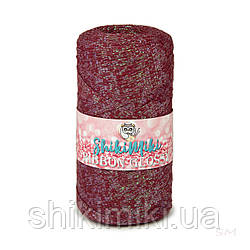 Трикотажный плоский шнур Ribbon Glossy, цвет Бордо
