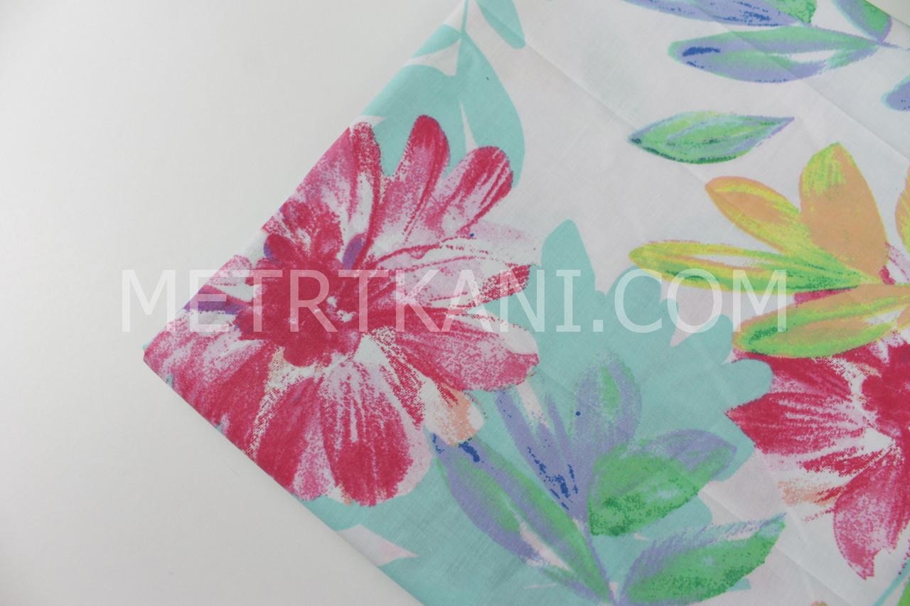 """Клаптик.Тканина бавовняна """"Акварельні квіти"""" малиново-червоні на білому , 40*160 см"""