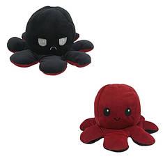М'яка іграшка восьминіжка перевертиш двосторонній великий чорний-червоний