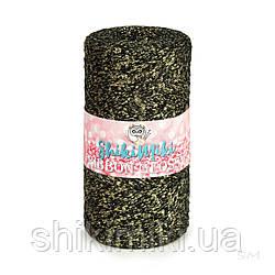 Трикотажный плоский шнур Ribbon Glossy, цвет Черный с золотом