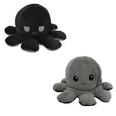 М'яка іграшка восьминіжка перевертиш двосторонній великий чорний-сірий