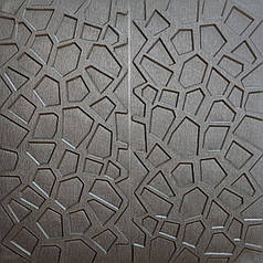 Самоклеющаяся декоративная потолочно-стеновая 3D панель серебряная 700x700x8мм