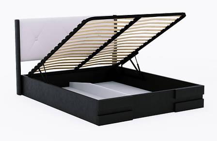 Кровать деревянная с подъемным механизмом и мягким изголовьем  Сиена , ArtWood цвет  венге, фото 2