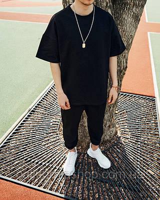 Мужской черный спортивный костюм футболка и штаны комплект
