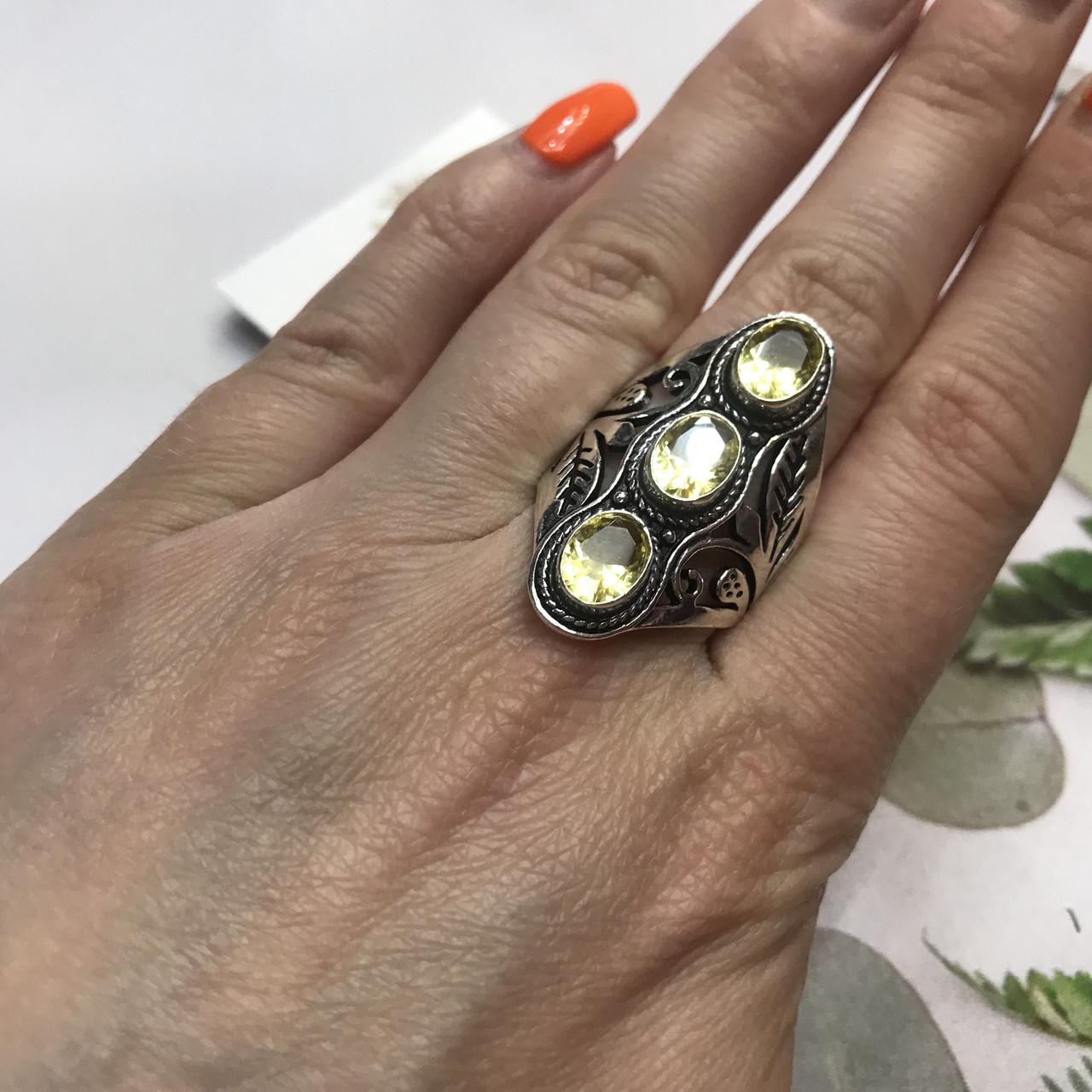 Цитрин 18,3 розмір кільце з цитрином кільце з каменем жовтий цитрин в сріблі Індія