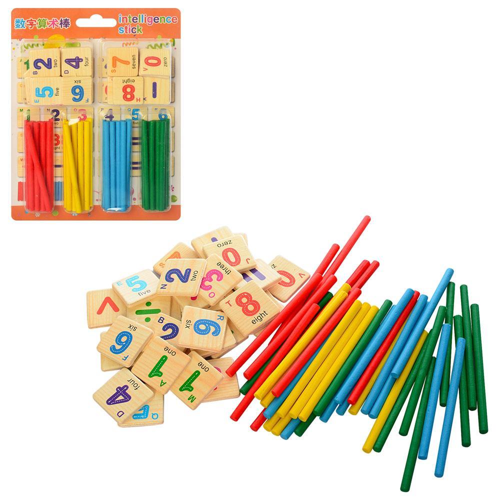 Деревянная игрушка Набор первоклассника MD 1254  счет.палоч,цифры, в слюде, 18,5-13,5-2см