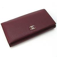 Модний бордовий гаманець! Жіночий шкіряний гаманець класичний на кнопці з натуральної шкіри, фото 1