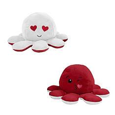 М'яка іграшка восьминіжка перевертиш двосторонній великий білий-червоний