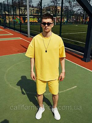 Мужской комплект желтый летний шорты и футболка костюм двойка