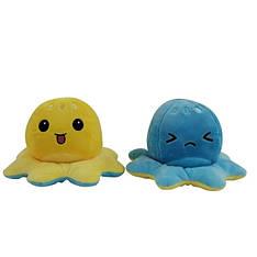 Мягкая игрушка осьминожка перевёртыш двухсторонний большой желтый-голубой