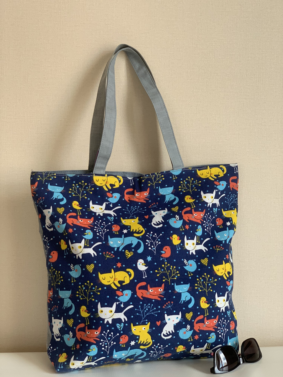 Пляжна еко сумка шоппер з тканини з котиками