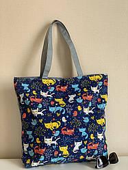 Пляжная эко сумка шоппер из ткани с котиками
