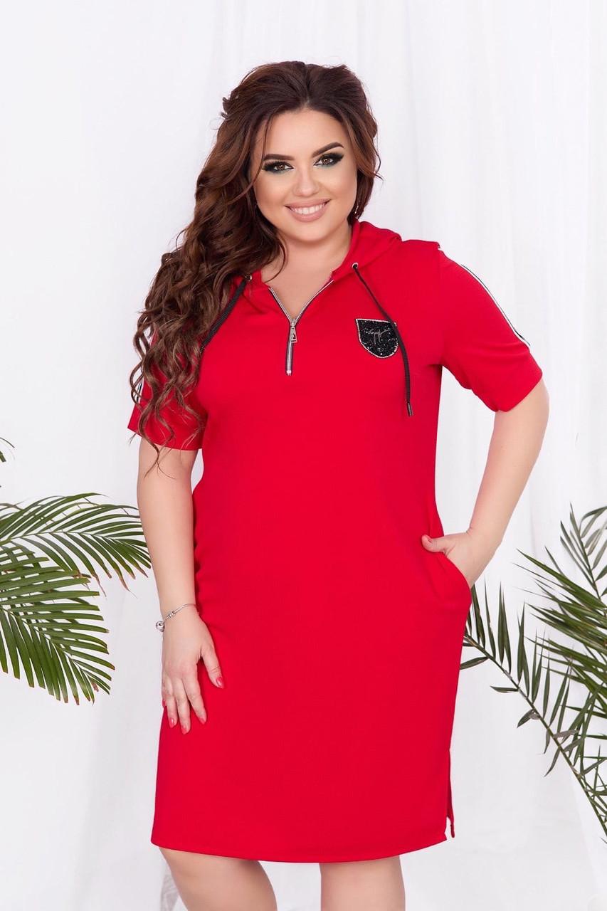 Стильне Жіноче плаття-сорочка (50-64) бордо