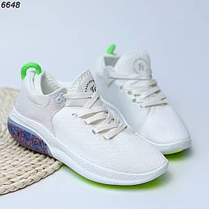 Белые текстильные кроссовки 6648 (ВБ)