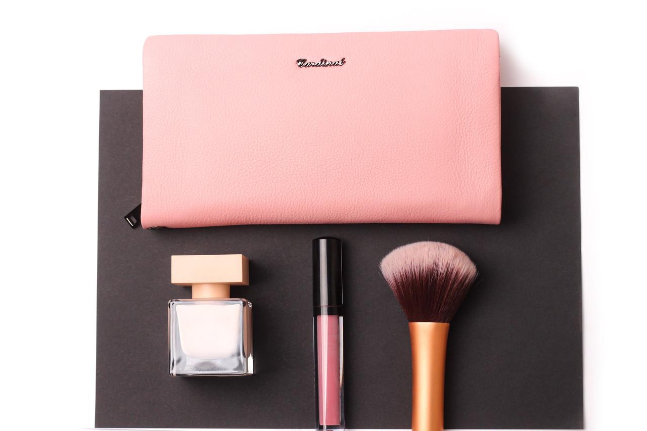 Женский розовый кошелек Cardinal большой клатч из натуральной кожи портмоне