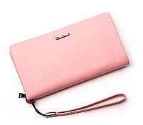 Женский розовый кошелек Cardinal большой клатч из натуральной кожи портмоне, фото 3