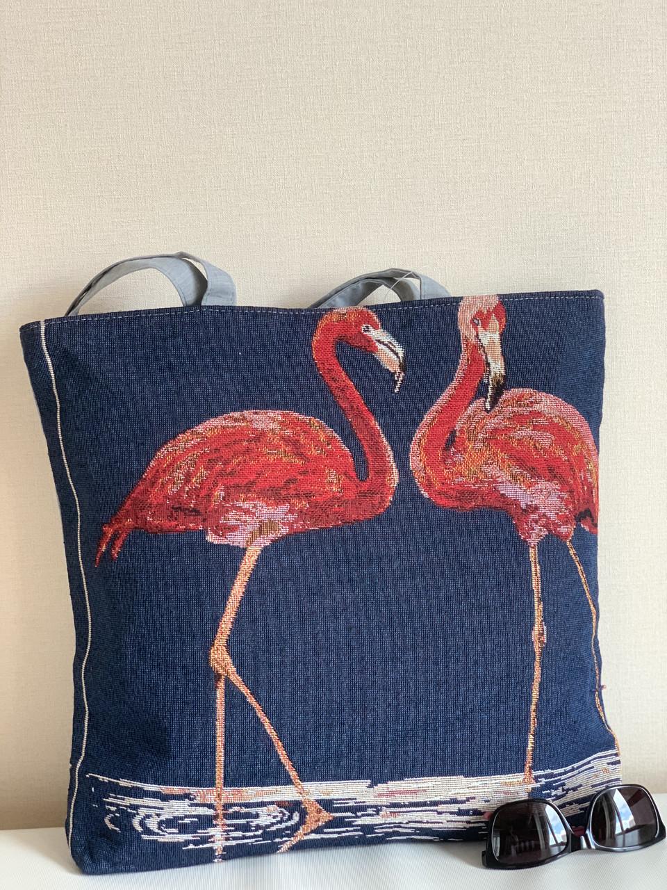 Пляжна тканинна сумка шоппер з фламінго