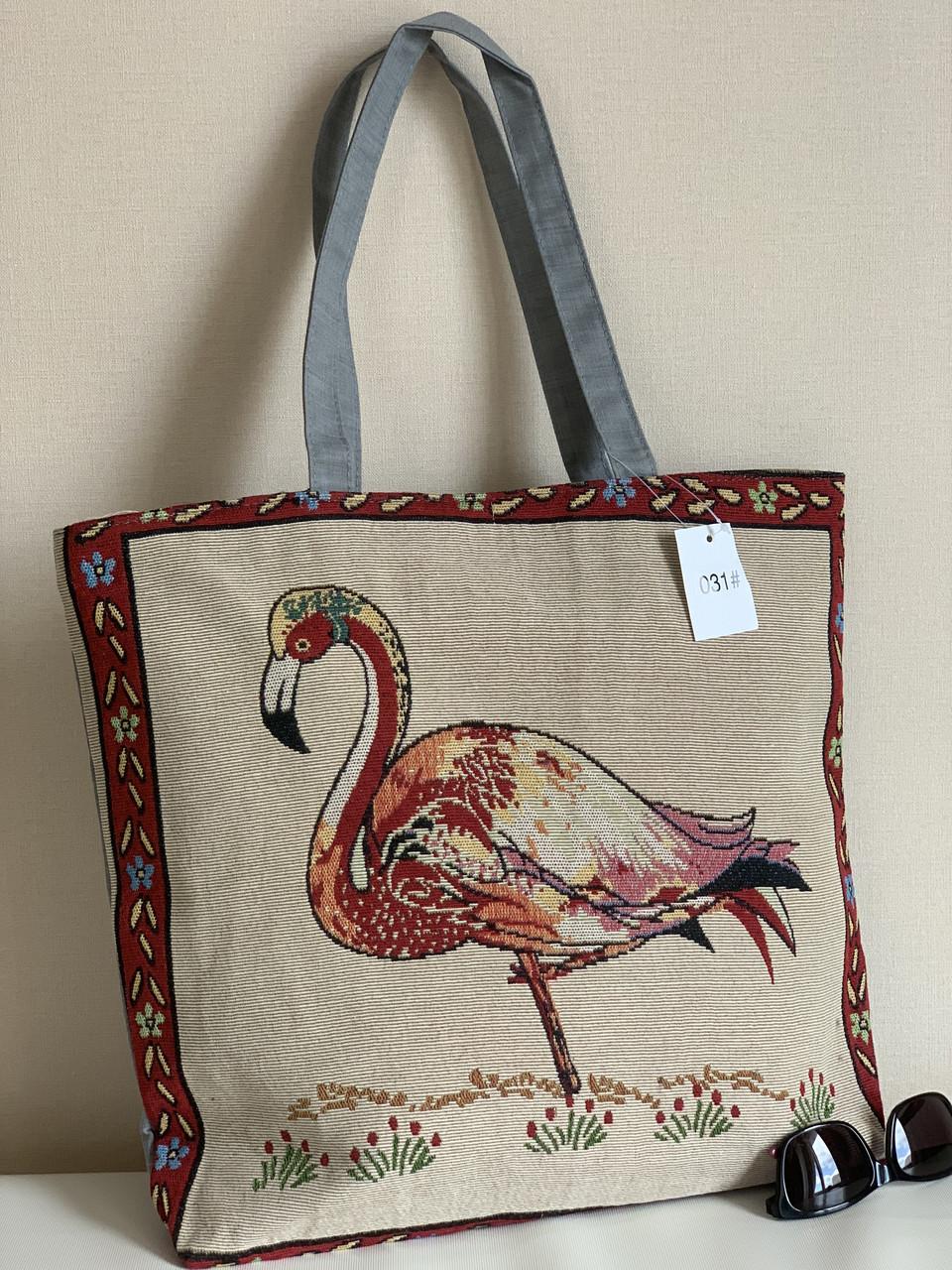 Пляжна еко сумка шоппер з тканини з малюнком фламінго