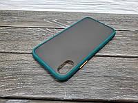 Противоударный матовый чехол для iPhone Xr зеленый бампер