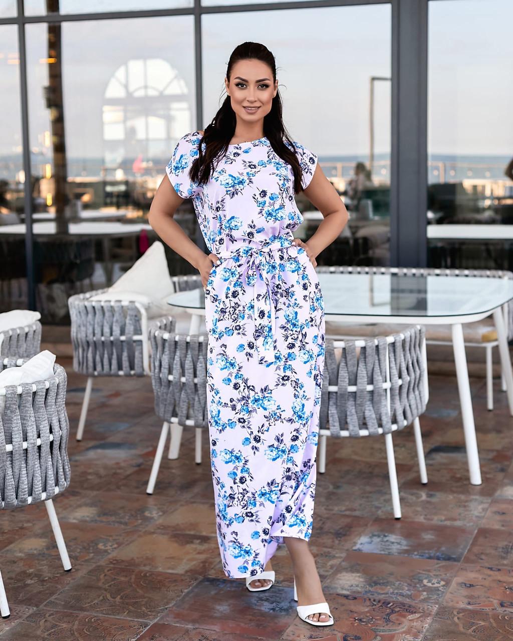 Длинное платье с поясом цветочный принт