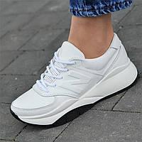 Кроссовки женские кожаные белые (код 4988), фото 1