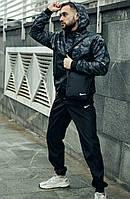 Спортивный мужской комплект штаны и куртка с капюшоном из плащевки весна-осень, камуфляж