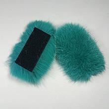 Меховые заготовки на липучке для шлепок натуральный мех песца из цельной шкуры, размер 5 * 12