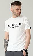 Мужская белая хлопковая футболка с надписью на груди с круглой горловиной и коротким рукавом