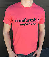 Мужская красная футболка с большим принтом HIGHER с короткими рукавами и круглой горловиной весна-лето