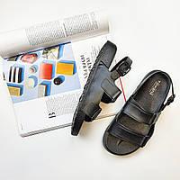 Резиновые пляжные женские сандали черные Fashion L-1