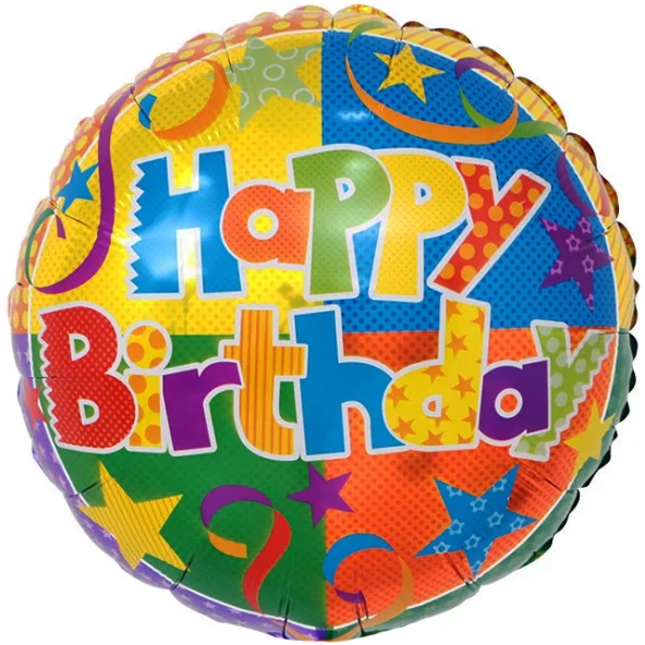 """Круг 18"""" КИТАЙ-КТ Happy Birthday - конфетти и звезды"""