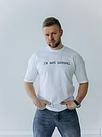 Мужская белая футболка с принтом NORMAL с короткими рукавами и круглой горловиной весна-лето