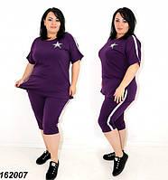 Женский летний костюм из трикотажа, бриджи и футболка,фиолетовый 48 50 52 54 56