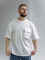 Молодежная футболка свободного кроя белого цвета из 100% хлопка с рукавом до локтя Over - size