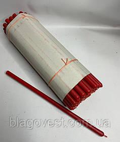 Свеча парафин № 10 КРАСНАЯ 50 шт в уп высоота 35см.диаметр 15мм