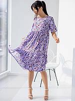 Летнее фиолетовое женское платье-миди свободного силуэта в цветочный принт
