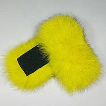 Меховые заготовки на липучке для шлепок натуральный мех песца из цельной шкуры, желтые, размер 5 * 12