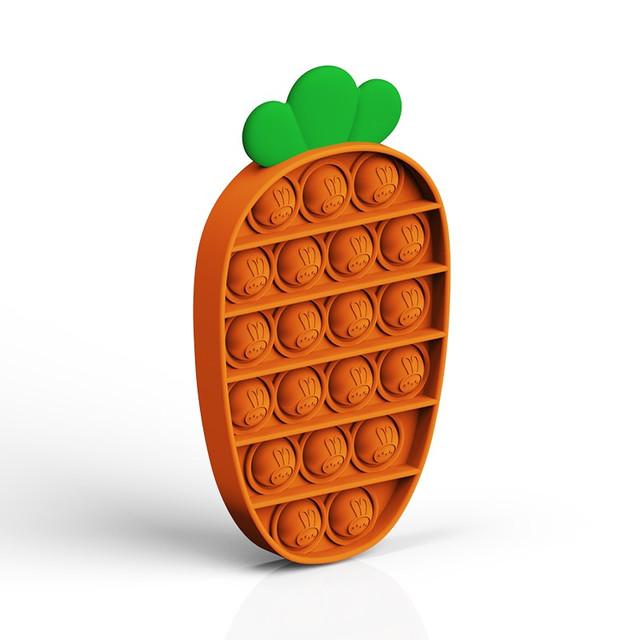 Силіконова іграшка антистрес pop it поп іт для дітей і дорослих у формі морквини