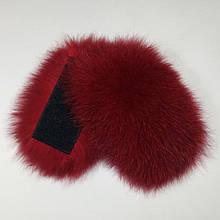 Меховые заготовки на липучке для шлепок натуральный мех песца из цельной шкуры, бордо, размер 5 * 12