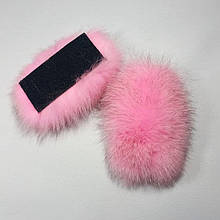 Меховые заготовки на липучке для шлепок натуральный мех песца из цельной шкуры, розовые, размер 5 * 12