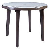 Пластиковий круглий стіл, капучіно