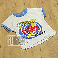 Детская 92 1,5-2 года летняя футболка для мальчика детей хлопок на лето Молния Маквин Тачки 4285 Голубой