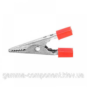 Зажим аккумуляторный (крокодил) WD028B,  L:41, красный