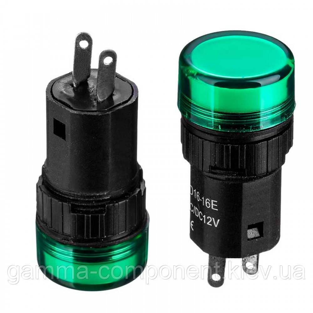 Світлодіодний індикатор AD16-16Е, 12V, зелений