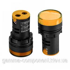 Світлодіодний індикатор AD16-22DS, 220VAC, жовтий