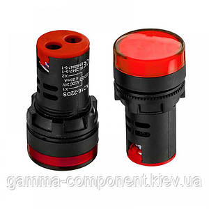 Світлодіодний індикатор AD16-22DS, 220VAC, червоний