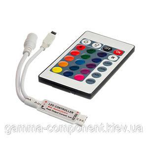 Контроллер для светодиодной ленты RGB 6 A, 72 Вт, ИК пульт 24 кнопки