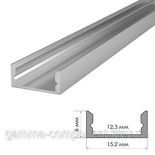Алюминиевый профиль анодированный для светодидных лент ПФ-18 накладной, 2м